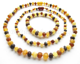 Raw Multicolor Baltic Amber Teething Set for Baby and Mommy