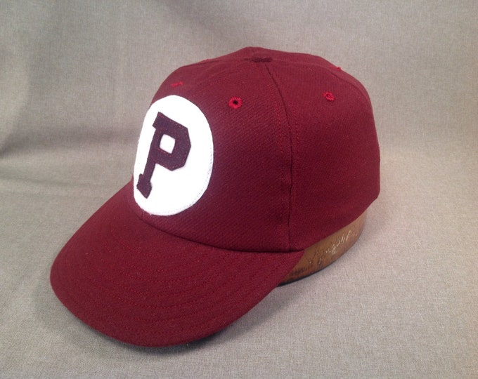 Custom wool baseball cap with  two piece felt logo, any letter and color, or as shown, supple leather sweatband,