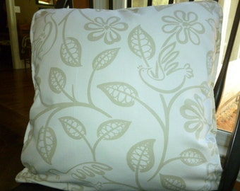 Reversible DoveLove Pillow Cover in Dove and Beige- 20 x 20 - Self Corded with Invisible Zipper
