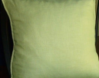 Reversible Sage Green Linen Pillow Cover, 20 x 20 - Self Corded with Invisible Zipper