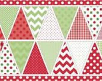 Riley Blake Bunting Panel in Reds and Greens