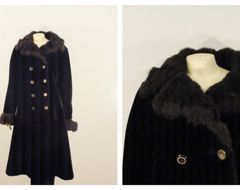 Vintage Coat 70s Mad Men Borgazia by Career Originals Plush Faux Fur Double Princess Style Breasted Pea  Satin Lining Size