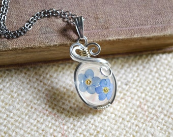 Real Blue Forget Me Not Oval Wire Wrapped Resin Pendant
