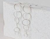 Earrings - Sterling silver circles earings  - chain earrigns