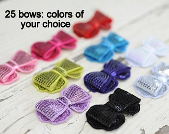 Sequin Bows - New Style Sequin Bows - Wholesale Sequin Bows - Set of 25 - You Pick Colors - 2 Inch Sequin Bows For Headbands and Clips