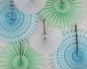 6 Tissue Paper Fans- Baby Shower Decor Kit , baby showers, children's birthday parties , bridal showers