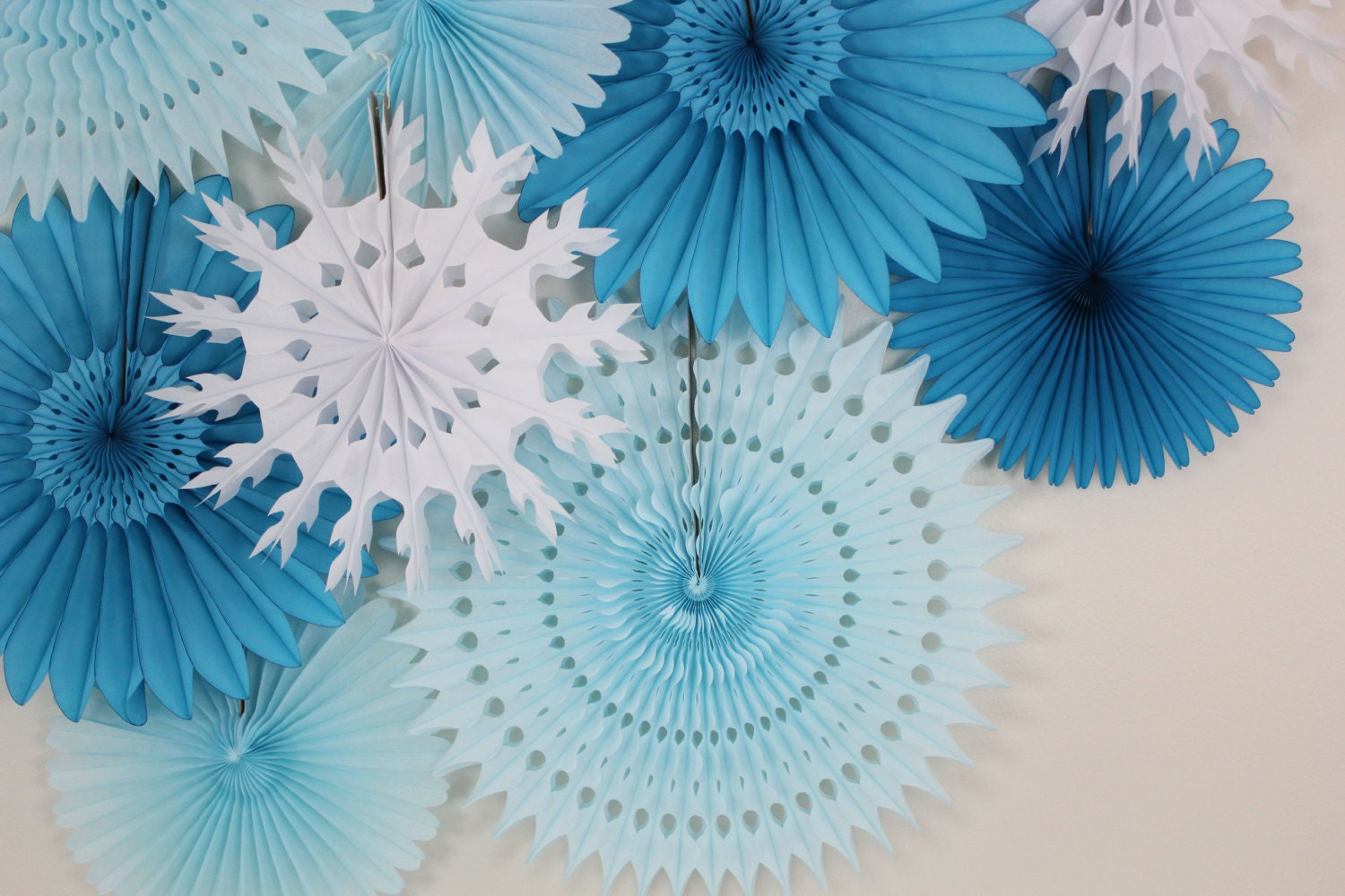 Winter Wedding Decor Tissue Paper Fan Wheels And Snowflakes