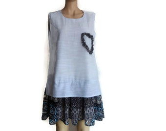 Pale Blue Dress -Sleeveless Mini Dress - Blue in Heart  Dress -Womens Size Large Summer Dress -Upcycled,Beach,Fun,Funky/