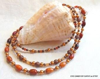 Autumn colors necklace, orange azurite necklace, three strand necklace, carnelian, calcite, pearls