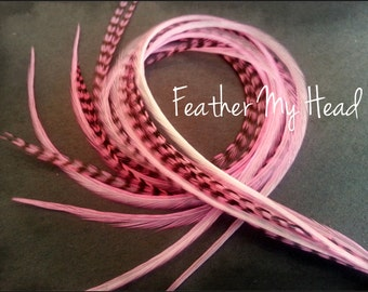 "10 Premium Feather Extensions, Extra Long, Grizzly And Solid Feathers 9""-12"" Baby Pink"