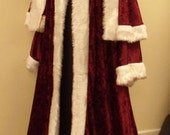Maroon crushed velvet St NicholasFather ChristmasVictorianSantaXmas Robe with jacket and trousers included