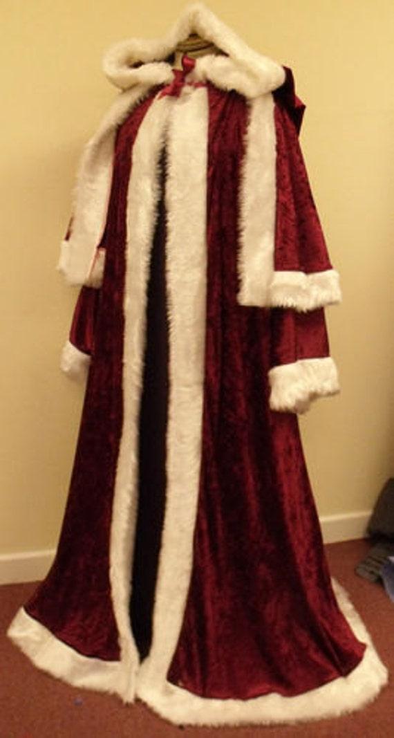 Maroon crushed velvet st nicholas father christmas victorian santa