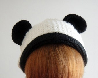 Panda Beanie in for Adult, Teddy Bear Beanie, Women Hat, Hand Crocheted Hat, Slouchy Beanie, Winter Accessories - lapuzelo