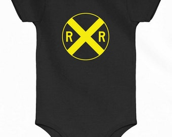 Baby Railroad Crossing Romper - Infant One Piece - NB 6m 12m 18m 24m - Railway Train - 3 Colors
