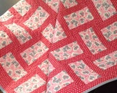 """Berry Red, Pink, Grey and Kitties Are Modern and Fun In This 41.5"""" X 41.5"""" Quilt"""