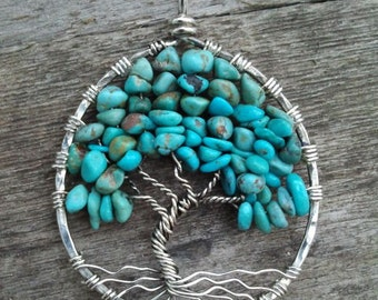 Turquoise and Sterling Silver Tree of Life Pendant  MADE TO ORDER