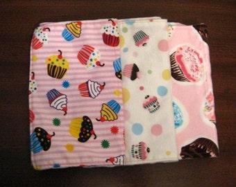 Cupcake Cutie Flannel and Minky Burp Cloths