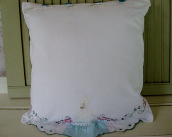 Pillow Vintage Pillowcase Lady Bonnet dress Aqua Yellow Embroidered Floral Accent Pillow