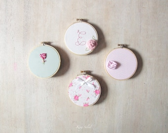 Embroidery Hoop Art Shabby Chic Set of Four Personalized Nursery Art