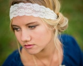 lace headband-Spring Break-Vintage lace headband-Women's lace headband-vintage headband-Ivory White Lace-infant lace-all sizes lace band
