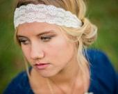 Vintage lace headband--Women's lace headband--vintage headband--Ivory White Lace--infant lace--all sizes lace band