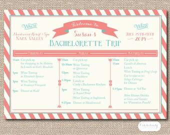 Printable Bachelorette Weekend Itinerary, Birthday weekend, Wine weekend Itinerary, Girls Weekend Itinerary, Bachelorette Party Invitation