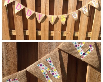 Birthday Banner- Age Banner, Happy Birthday Banner, Burlap Banner