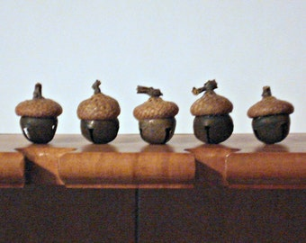 Acorn Bell Ornament or Bowl Filler - Rusty Tin Bell with Real Acorn Cap