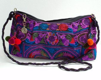 Purple hippies chic Embroidered purse Hobo Tote Shoulder bag handbag Boho tribal black purple birds clutch colorful pom poms One Of A Kind