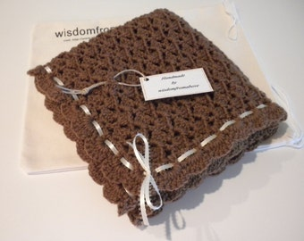 Crochet Baby Blanket  Very Soft Antique Toffee Brown with Ribbon  - 28 x 31  Handmade Very Soft
