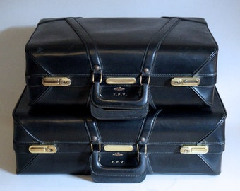 Vintage Black Leather Stylite Large Suitcase - Travel in Style - Floyd Jones Vintage