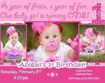 Everything One birthday party 1st Birthday Girl invitation 1st birthday Girl invite Everything One Girl invite 1 Girl baby Pink invite dots