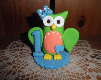 Polymer Clay Owl - Personalized First Birthday Owl Cake Topper/Keepsake/Gift
