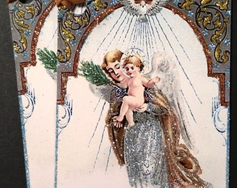 SALE! Glittered Christmas Tags ~ Angel and Holy Child Hand Glittered Christmas Tags, Old-Fashioned, Vintage Style, with Ribbon