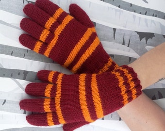 Harry Potter Gloves Hogwarts House Colours Wool Free Made to Order Custom Hand Knitted