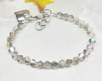 Silver Gray Crystal Bracelet Heart Bracelet Silver AB Adjustable Bracelet 925 Sterling Silver Bracelet or Plated BuyAny3+Get1Free