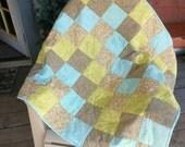 Damask Quilt, Patchwork Quilt, Paisley Quilt, Blue Quilt, Green Quilt, Gold Quilt
