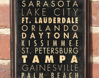 Florida FL Cities Wall Art Sign Plaque Gift Present Personalized Color Custom Location Miami Tampa Bay Pensacola Orlando Palm Beach Antique