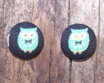 Green Owl with Bowtie Button Earrings or Bobby Pins