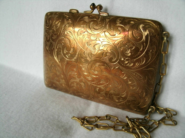 Antique 1800 S Gold Ea Bliss Compact Coin Case Dance Purse