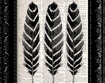 Tribal Feathers  - Vintage Dictionary Print Vintage Book Print Page Art Upcycled Vintage Book Art