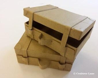 Small vintage style suitcase trunk - Plain Papier Mache - Craft Paint Decorate Blank