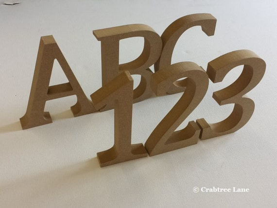 Large 3d letters numbers plain mdf wood by crabtreelaneshop for Large 3d numbers
