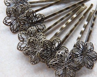 Antique Bronze Flower Hair Bobby Pins - Hair Clips, 10 PC (IND1C28)