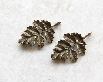 32X19mm Antique Bronze Leaf Charm Pendants, 2 PC (INDOC267)