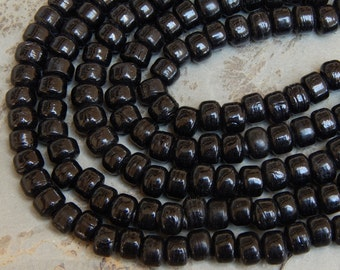 9mm Opaque Black Glass Crow Beads,  25 Inch Full Strand (OBIND1C15)