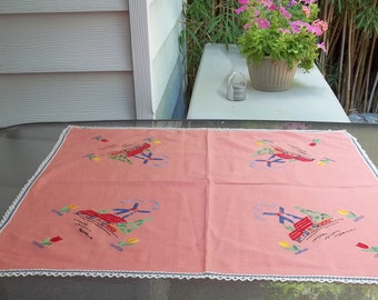 Sweet Dutch, Holland- Inspired Small Tablecloth or Topper, Hand Embroidery in Four Corners,  Windmill Tulip