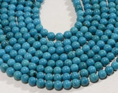 "Turquoise 6.3mm 15 3/4"" Strand Natural Gemstone Beads Jewelry Making Supplies Turquoise Beads"