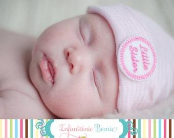 little sister newborn hospital hat- newborn girl- little sister- newborn hat- baby girl- newborn girl take home outfit- newborn girl hat