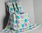 Afghan - Springtime Polka Dot Patchwork Granny Square Quilt / Blanket
